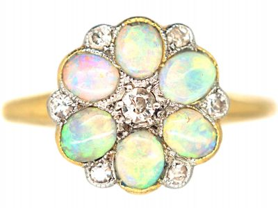 Edwardian 18ct Gold & Platinum, Opal & Diamond Flower Cluster Ring