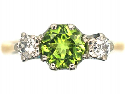 Edwardian 18ct Gold, Peridot & Diamond Three Stone Ring