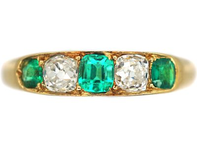 Edwardian 18ct Gold, Diamond & Emerald Ring