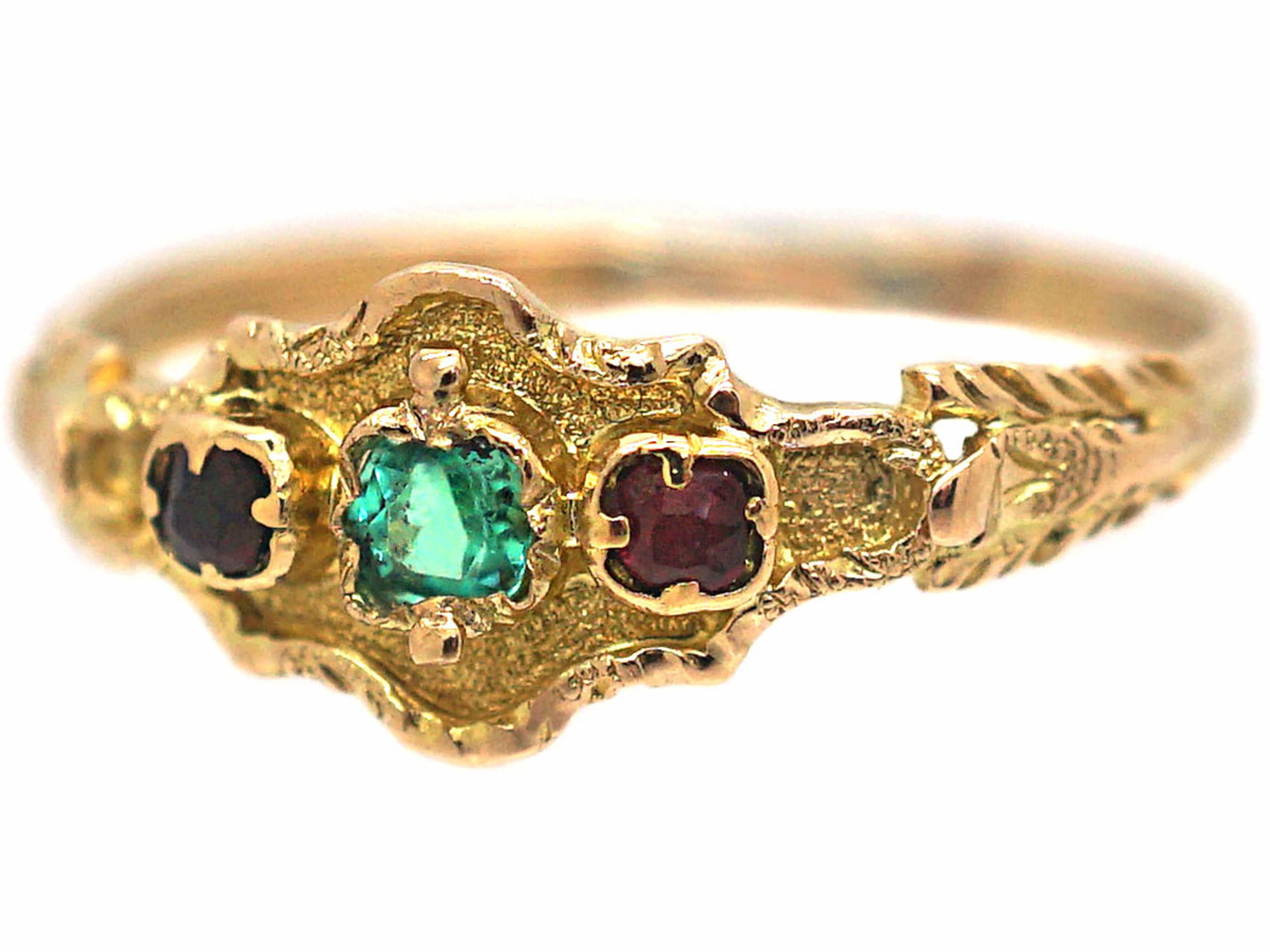 Regency 15ct Gold Emerald & Ruby Three Stone Ring with Ornate gold Decoration
