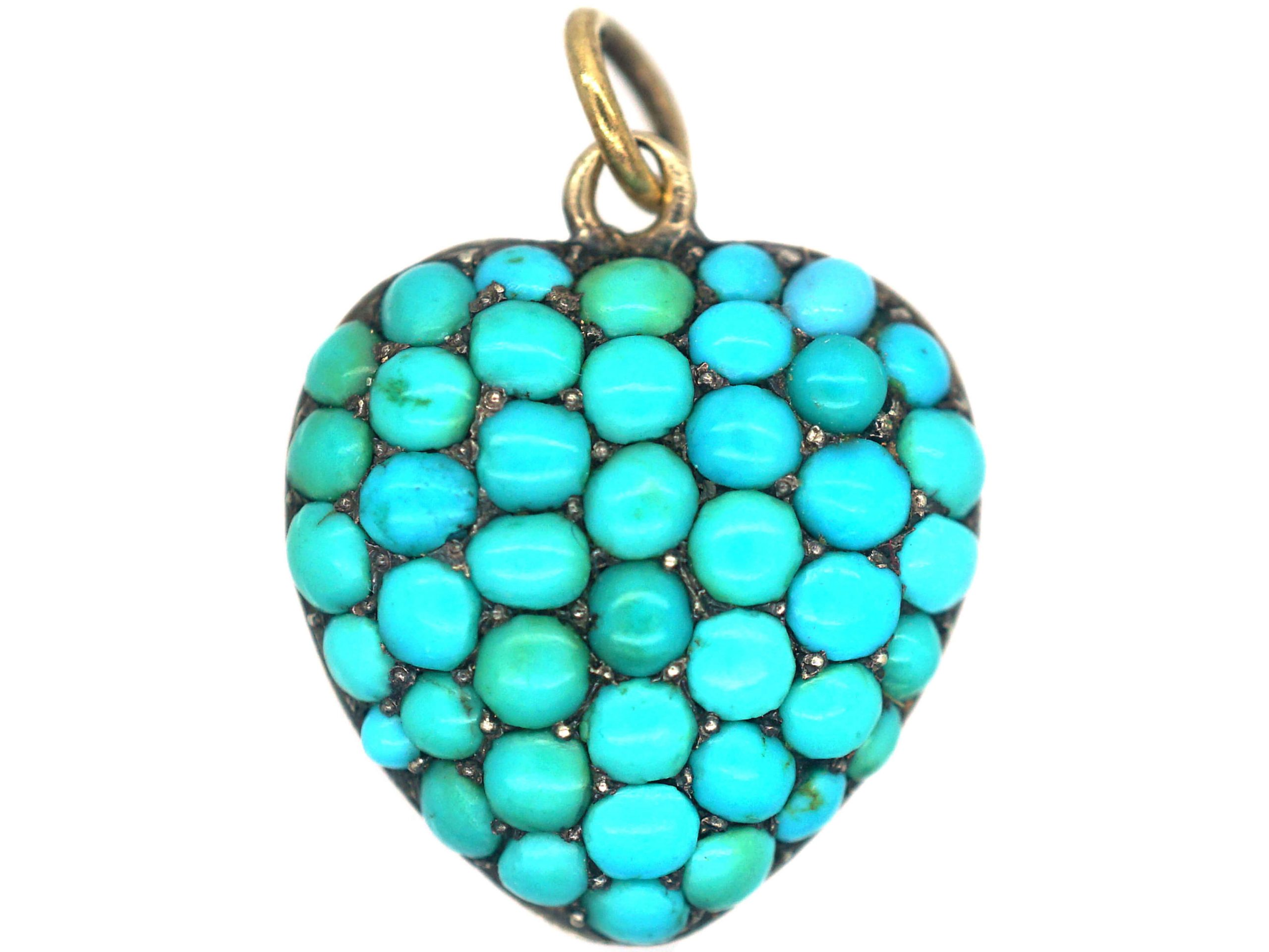 Victorian 15ct Gold & Turquoise Heart Shaped Pendant with Locket on the Reverse