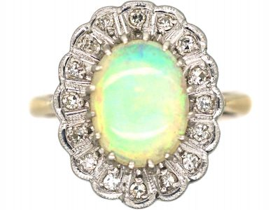 18ct Gold & Platinum Opal & Diamond Oval Cluster Ring