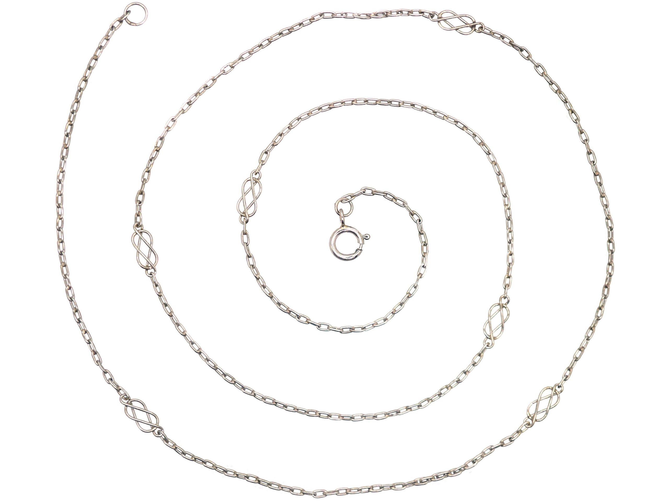 Edwardian Lover's Knot Platinum Chain