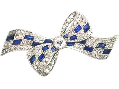 Art Deco 14ct Gold & Platinum, Sapphire & Diamond Bow Brooch by Pistol & Pulker