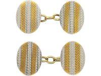 Art Deco 18ct Gold & Platinum Oval Cufflinks with Ripple Design