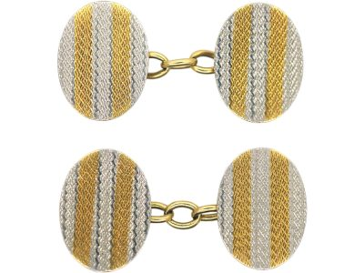 Art Deco 18ct Gold & Platinum Oval Cufflinks with Ripple Design
