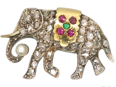 Edwardian Elephant Brooch set with Diamonds, Rubies, an Emerald & a Natural Pearl