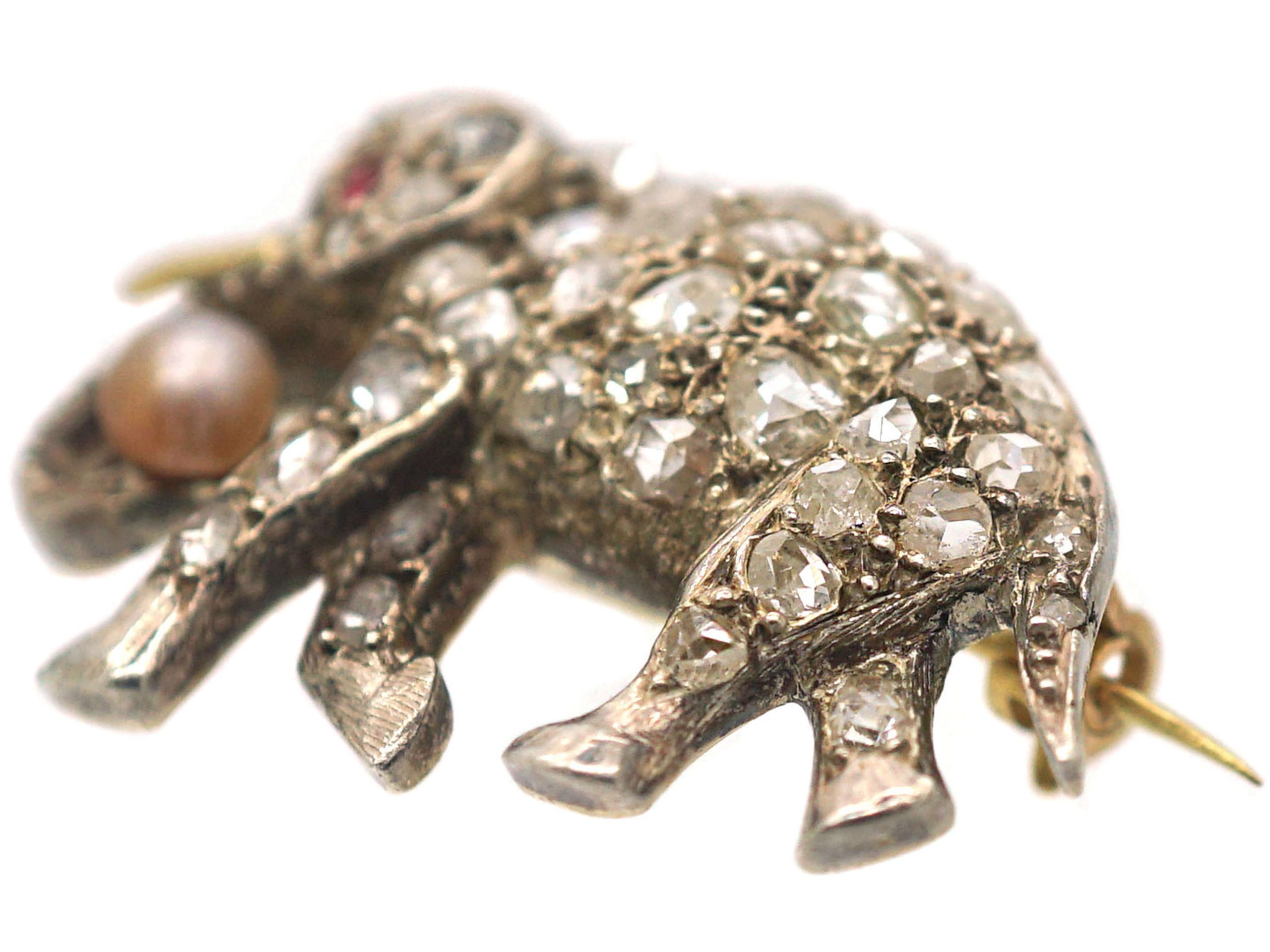 Edwardian Elephant Brooch set with Diamonds, Ruby & a Natural Pearl