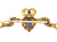 Edwardian 15ct Gold Ribbon & Heart Brooch with Crown set with a Sapphire, Diamonds & Split Pearls Brooch