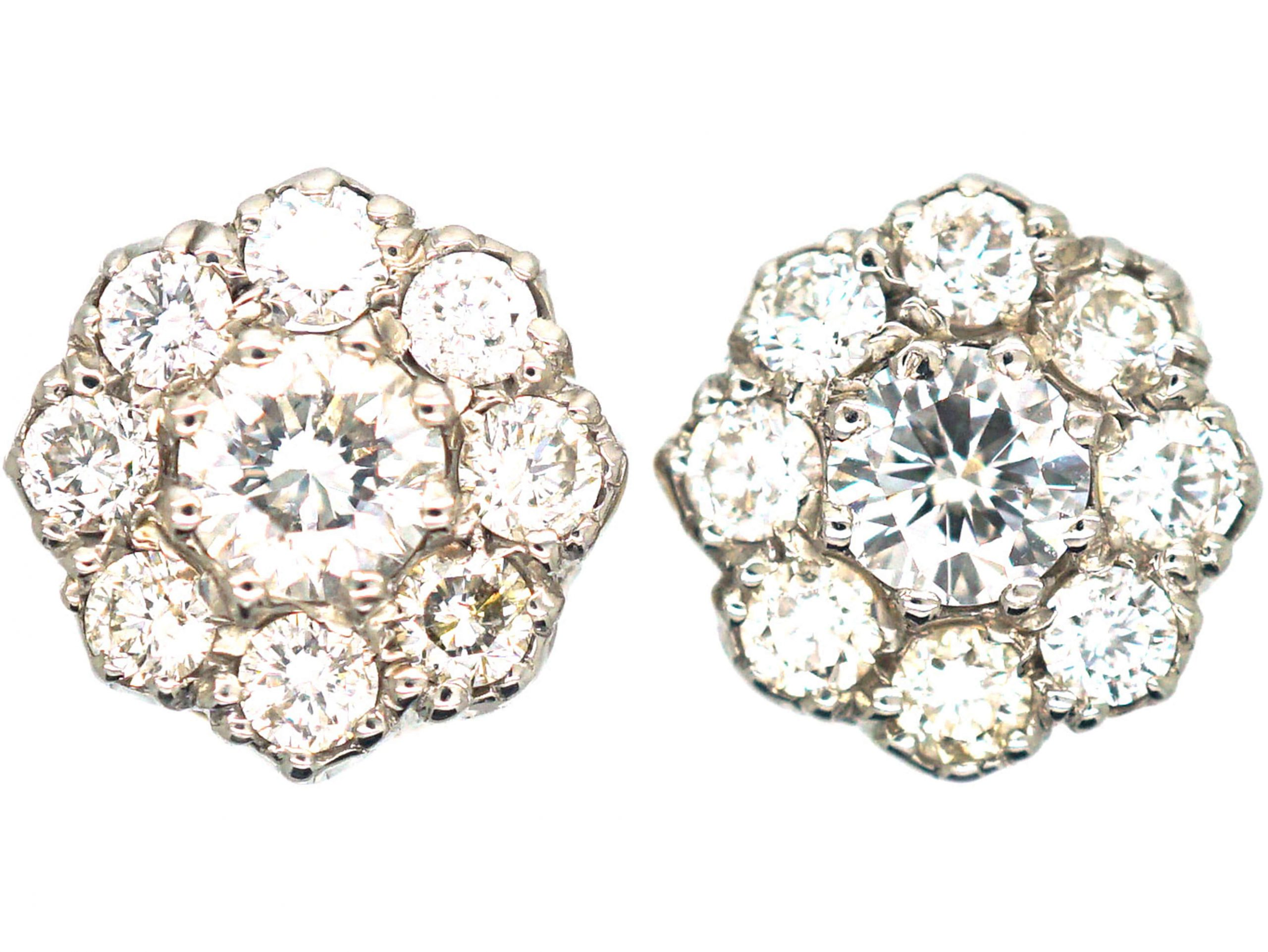 18ct White & Yellow Gold & Diamond Daisy Cluster Earrings