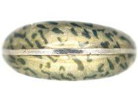 Silver & Leopard Print Enamel Ring