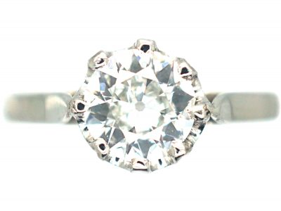 French Art Deco Platinum & Solitaire Diamond Ring
