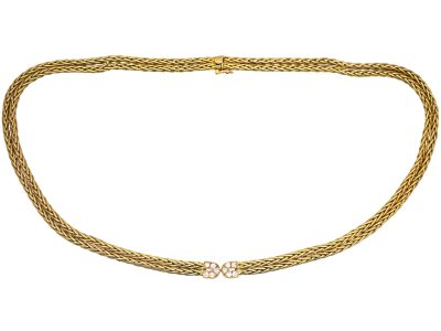 French 18ct Gold & Diamond Necklace by Hermès, Paris