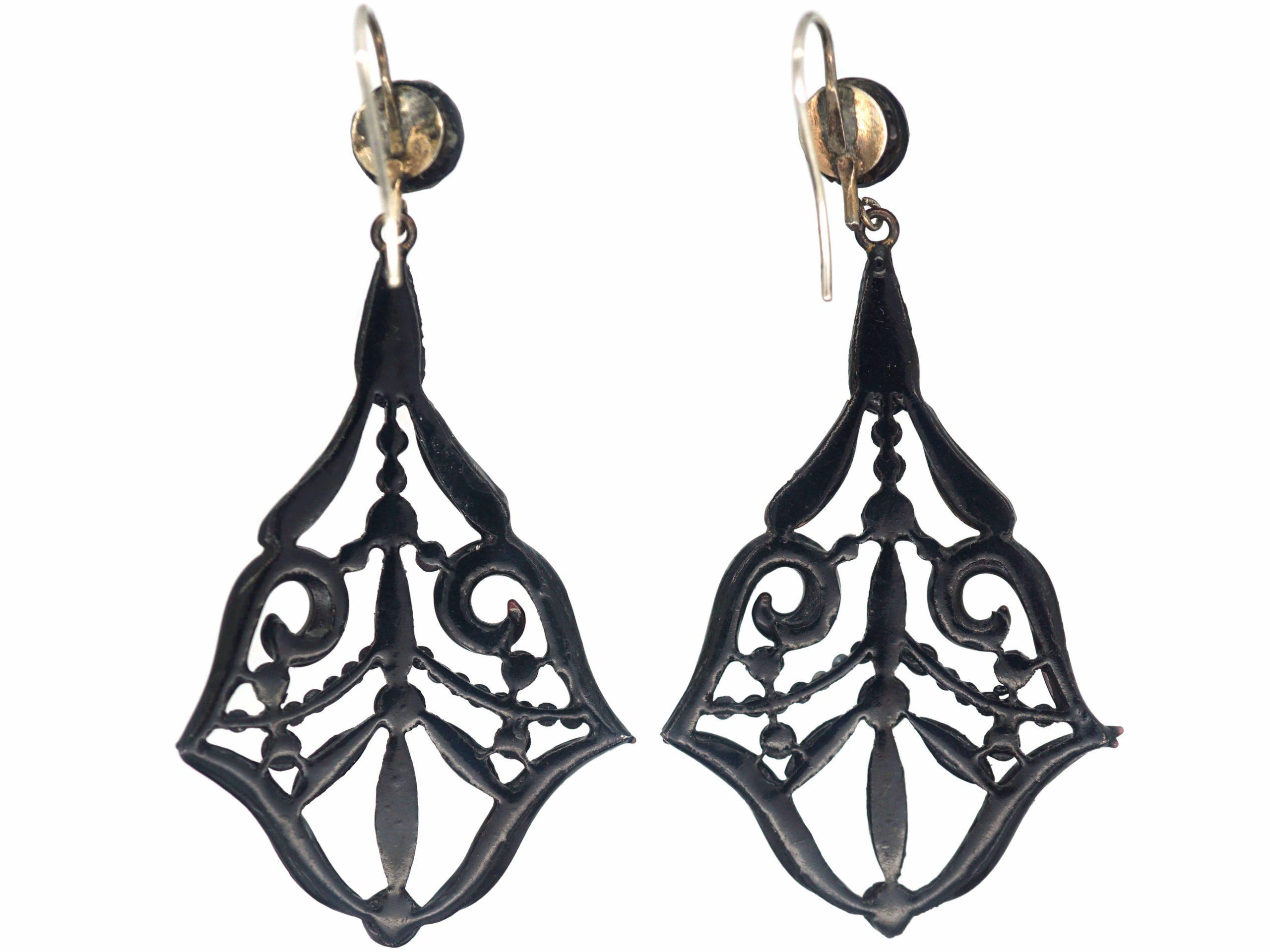 Victorian Vauxhall Glass Drop Earrings