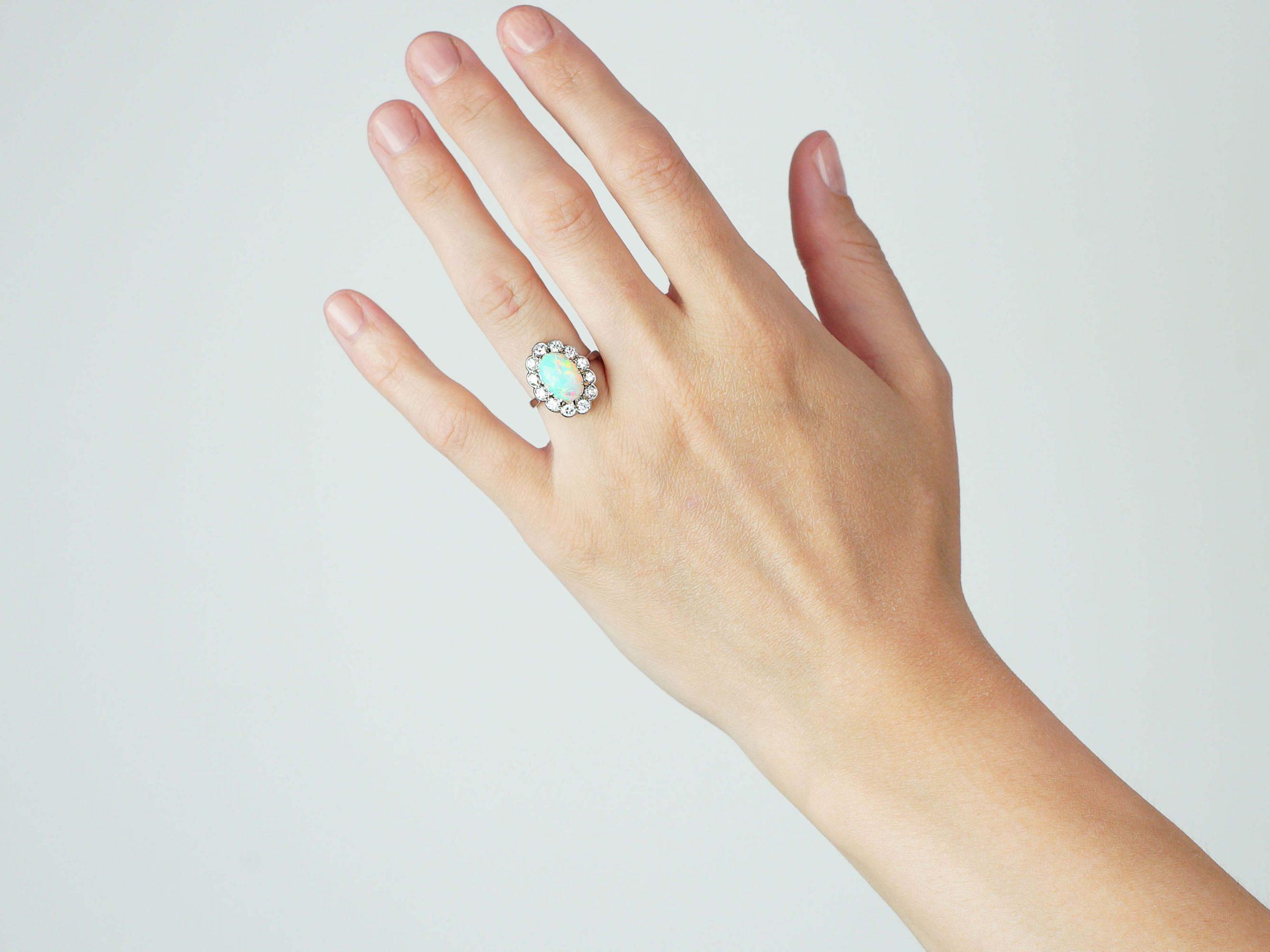 Edwardian Platinum, Opal & Diamond Oval Cluster Ring