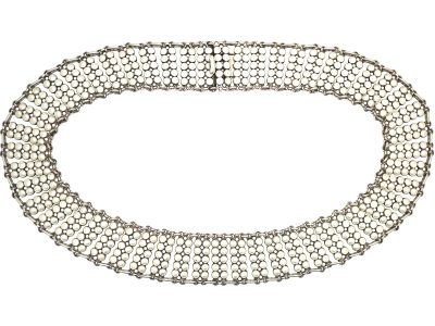 Norwegian Silver & White Enamel Collar Necklace by Einar Modahl