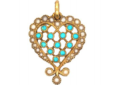 Edwardian 18ct Gold, Turquoise & Natural Split Pearl Heart Shaped Forget Me Not Pendant