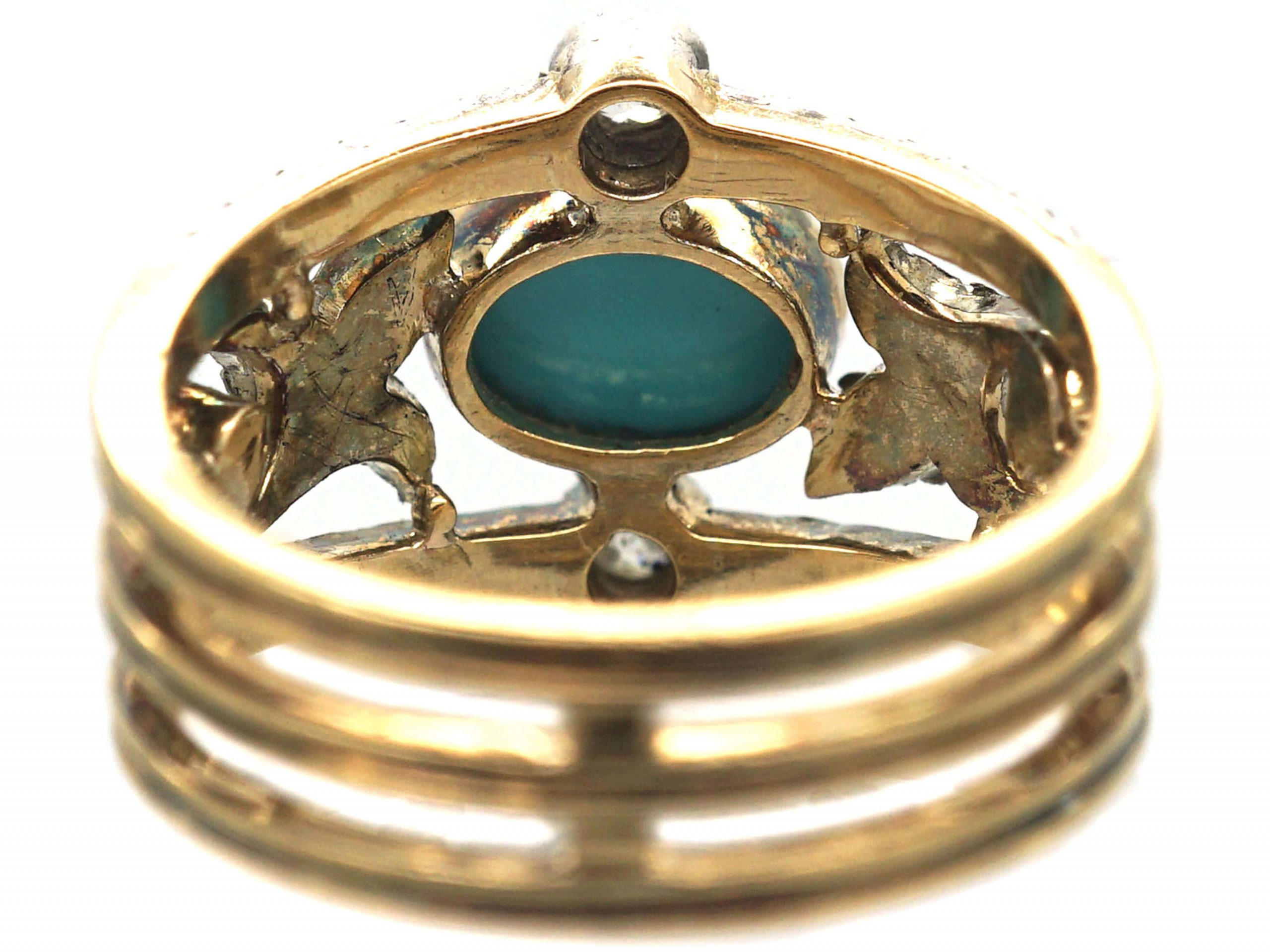 Edwardian 18ct Gold Turquoise & Diamond Ring with Rose Diamond Leaf Detail