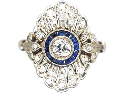 Art Deco Platinum, Sapphire & Diamond Target & Feather Style Ring