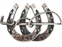 Victorian Silver & Gold Overlay Double Horseshoe Brooch