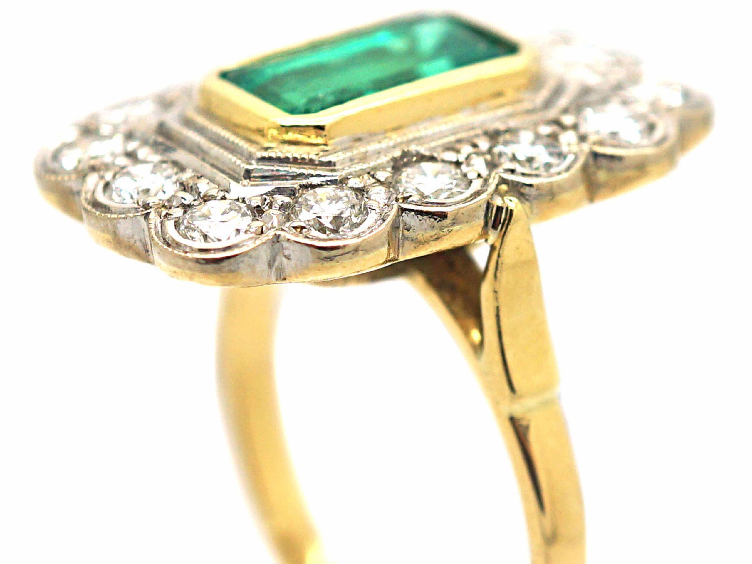 18ct Gold Emerald & Diamond Rectangular Ring