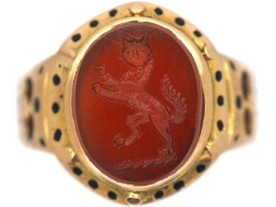 Victorian 18ct Gold Signet Ring with Intaglio of a Rearing Cat