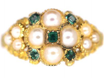 Regency 15ct Gold Natural Split Pearl & Emerald Cluster Ring with Natural Split Pearl Set Shoulders