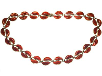 Silver & Red Enamel Double Leaf Necklace by David Andersen