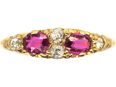 Edwardian 18ct Gold, Ruby & Diamond Narrow Boat Shaped Carved Half Hoop Ring