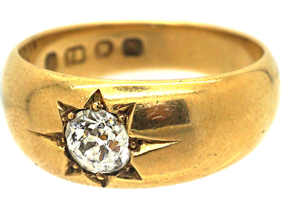 Victorian 18ct Gold & Diamond Solitaire Gypsy Ring