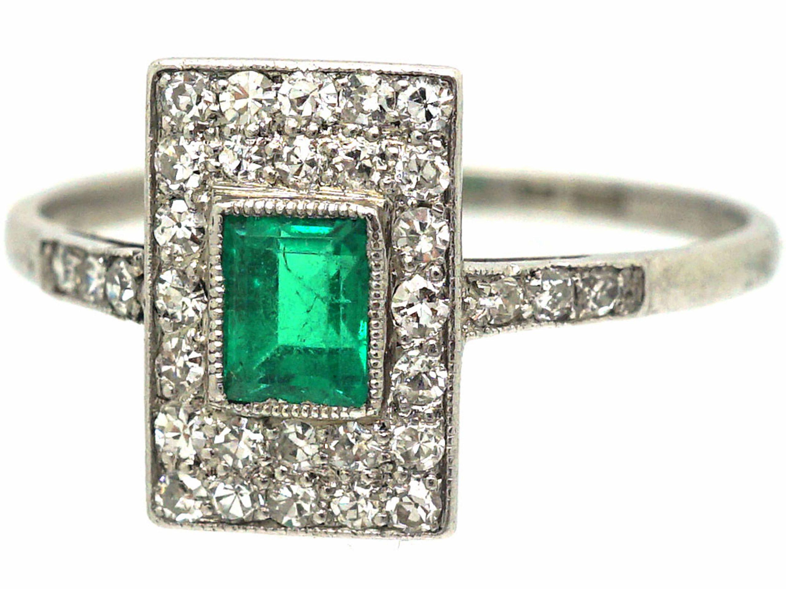 Art Deco Platinum, Emerald & Diamond Rectangular Ring with Diamond set Shoulders