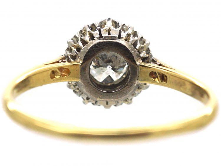 Edwardian 18ct Gold & Platinum Diamond Cluster Ring with Diamond Set Shoulders
