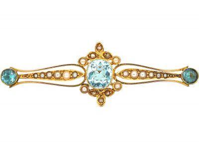 Edwardian 15ct Gold, Aquamarine & Natural Split Pearl Brooch