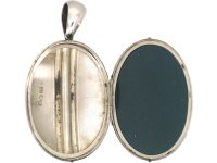 Victorian Silver Oval Shaped Locket with Double Banded & Engraved Detail