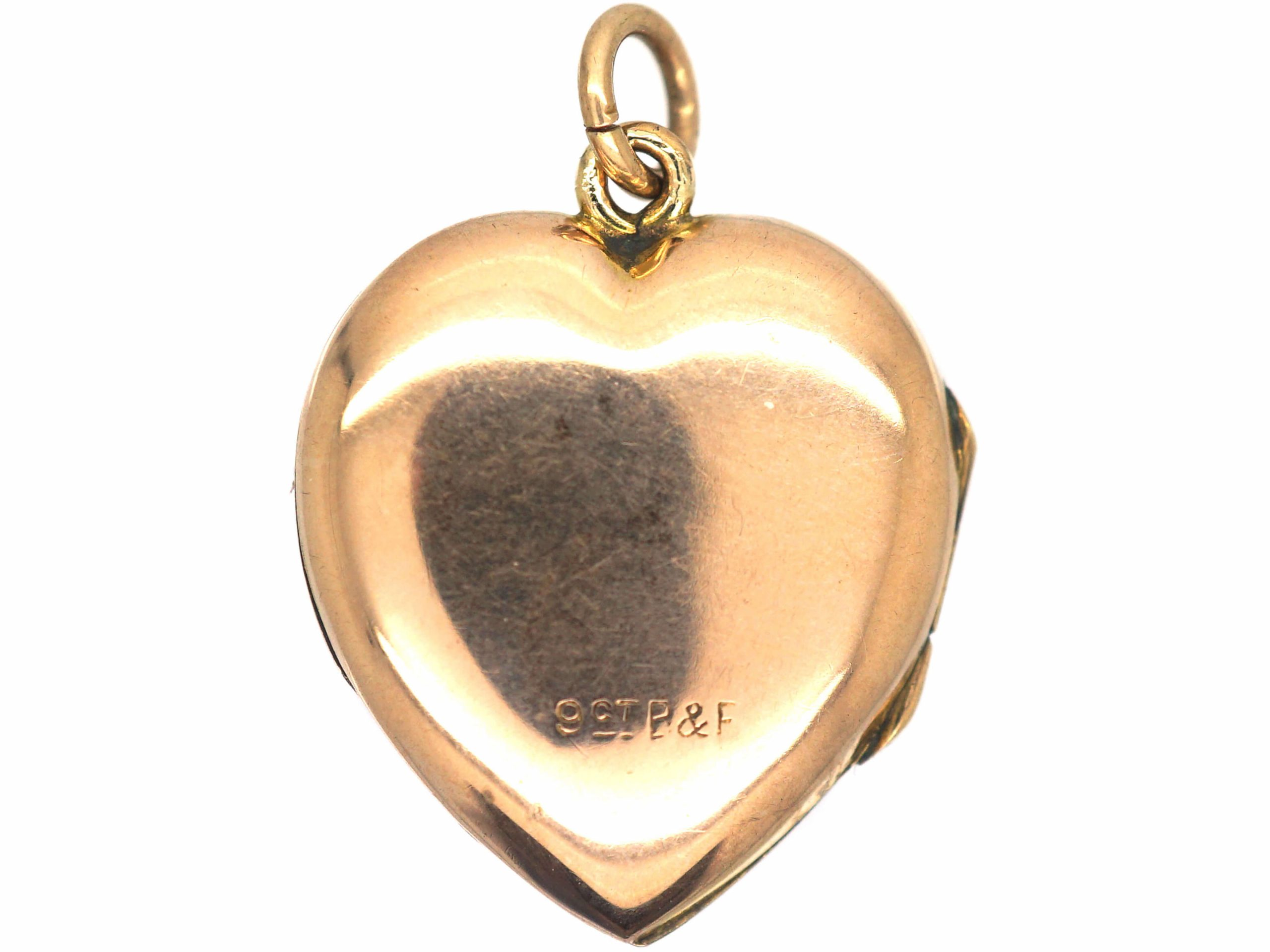 Edwardian 9ct Gold Back & Front Heart Shaped Locket with Engraved Front