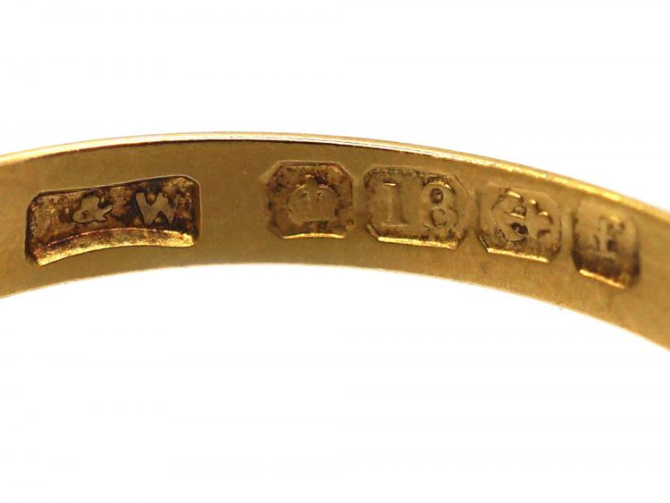 Edwardian 18ct Gold, Sapphire & Diamond Gypsy Scroll Design Ring