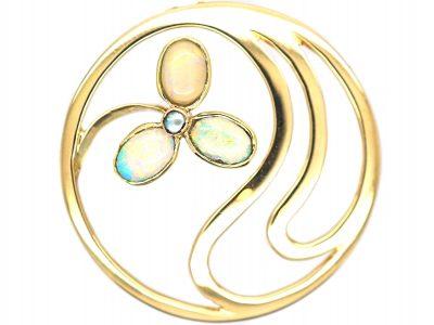 Art Nouveau 15ct Gold & Opal Flower Brooch by Murrle Bennett & Co