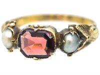 Georgian Scottish 9ct Gold, Flat Cut Garnet & Natural Split Pearl Ring with Thistle Motif Shoulders