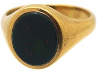 18ct Gold Signet Ring set with a Bloodstone