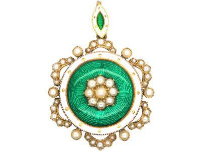 Edwardian 15ct Gold, Natural Split Pearls & Green Enamel Round Pendant with Locket Back