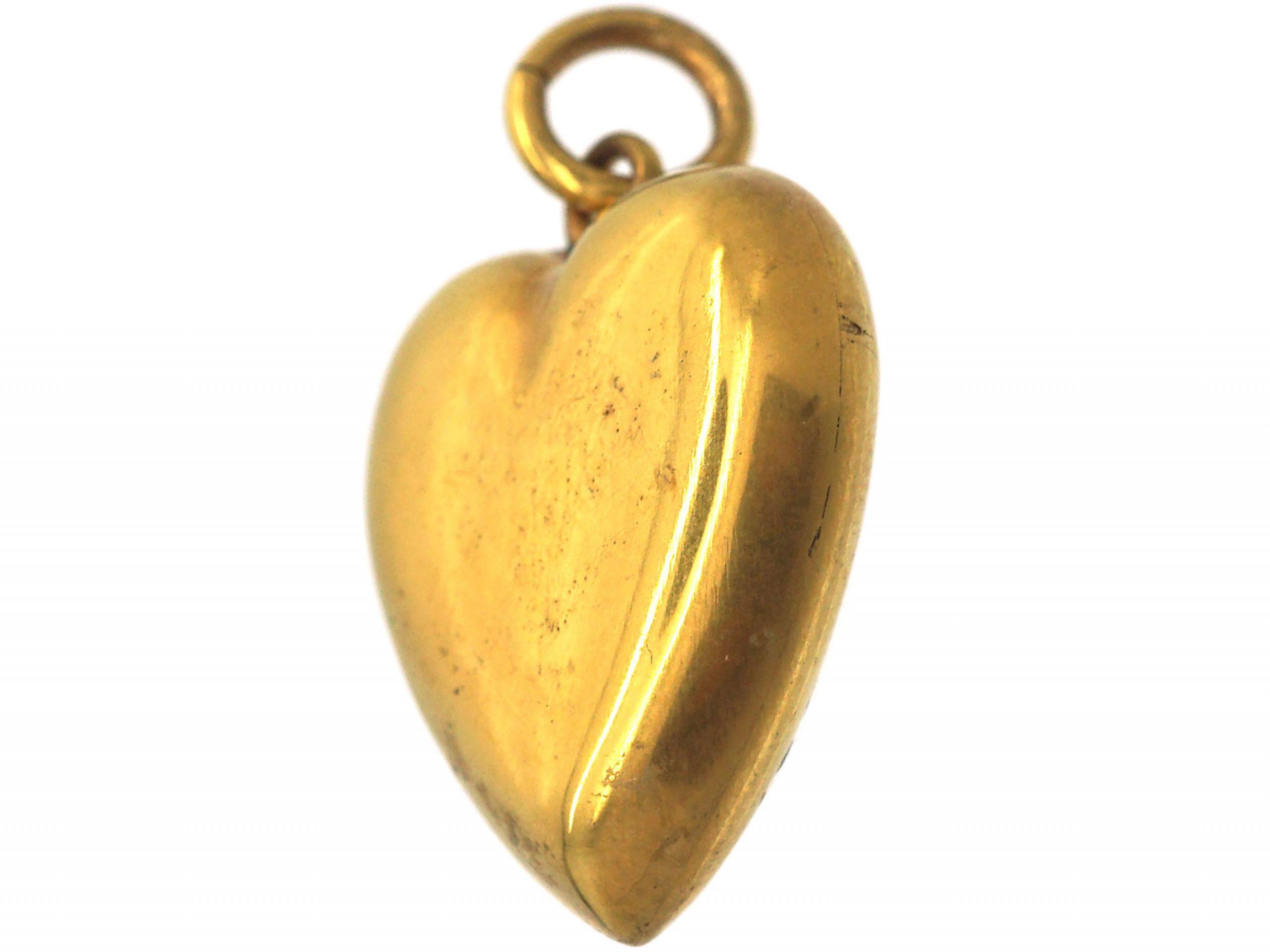 Edwardian 18ct Gold Heart Shaped Pendant