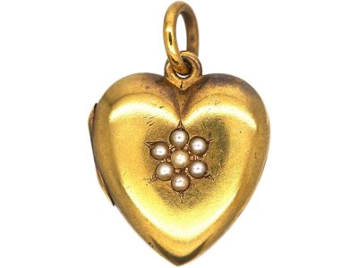 Edwardian 15ct Gold Heart Shaped Locket set with Natural Split Pearls