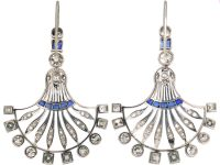 French Art Deco 18ct White Gold Fan Shaped Earrings set with Sapphires & Diamonds