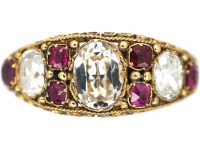 Early Victorian, 15ct Gold, Ruby & Rock Crystal Ring