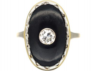 Art Deco 18ct Gold, Onyx & Diamond Oval Shaped Ring