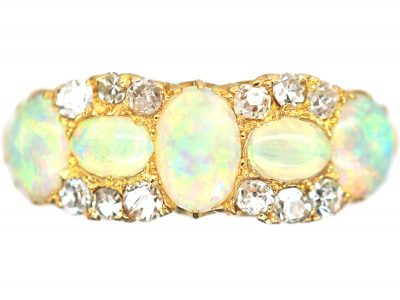 Edwardian 18ct Gold, Five Stone Opal & Diamond Ring