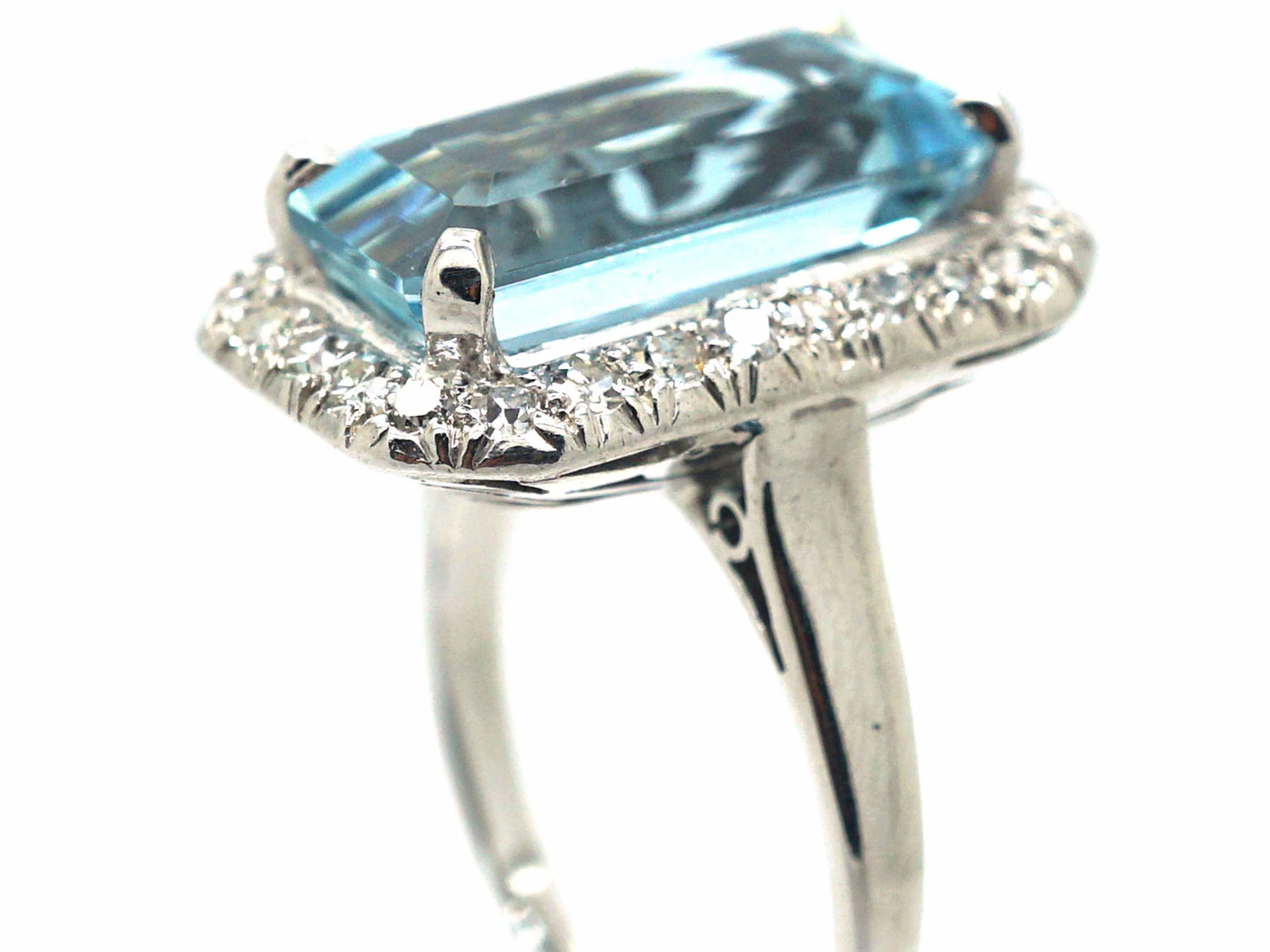 Retro 18ct White Gold, Aquamarine & Diamond Rectangular Shaped Ring