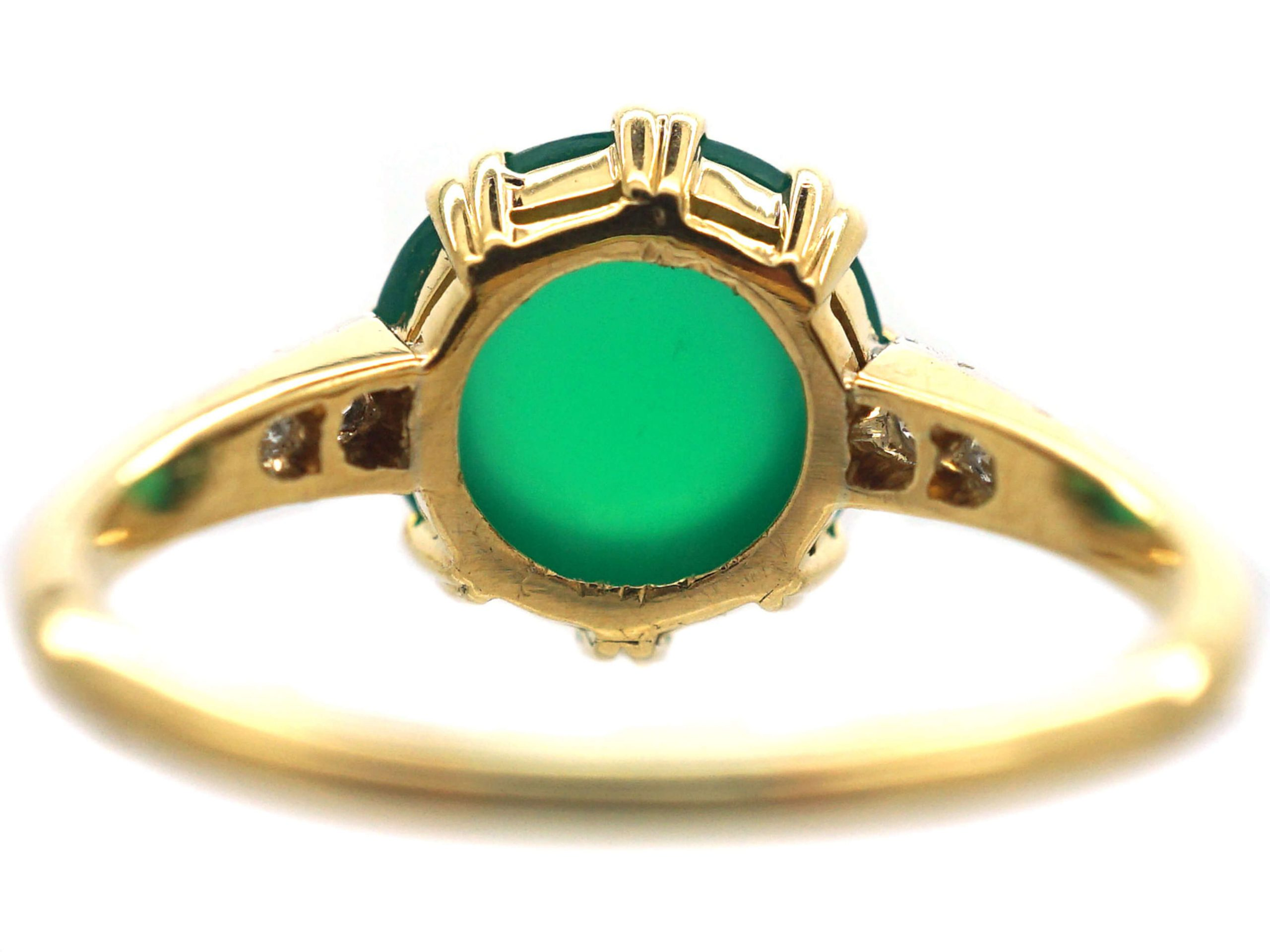 Art Deco 15ct Gold & Platinum Ring set with Green Chalcedony with Diamond set Shoulders
