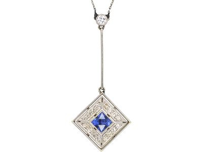 Art Deco 18ct Gold & Platinum, Sapphire & Diamond Pendant on Chain