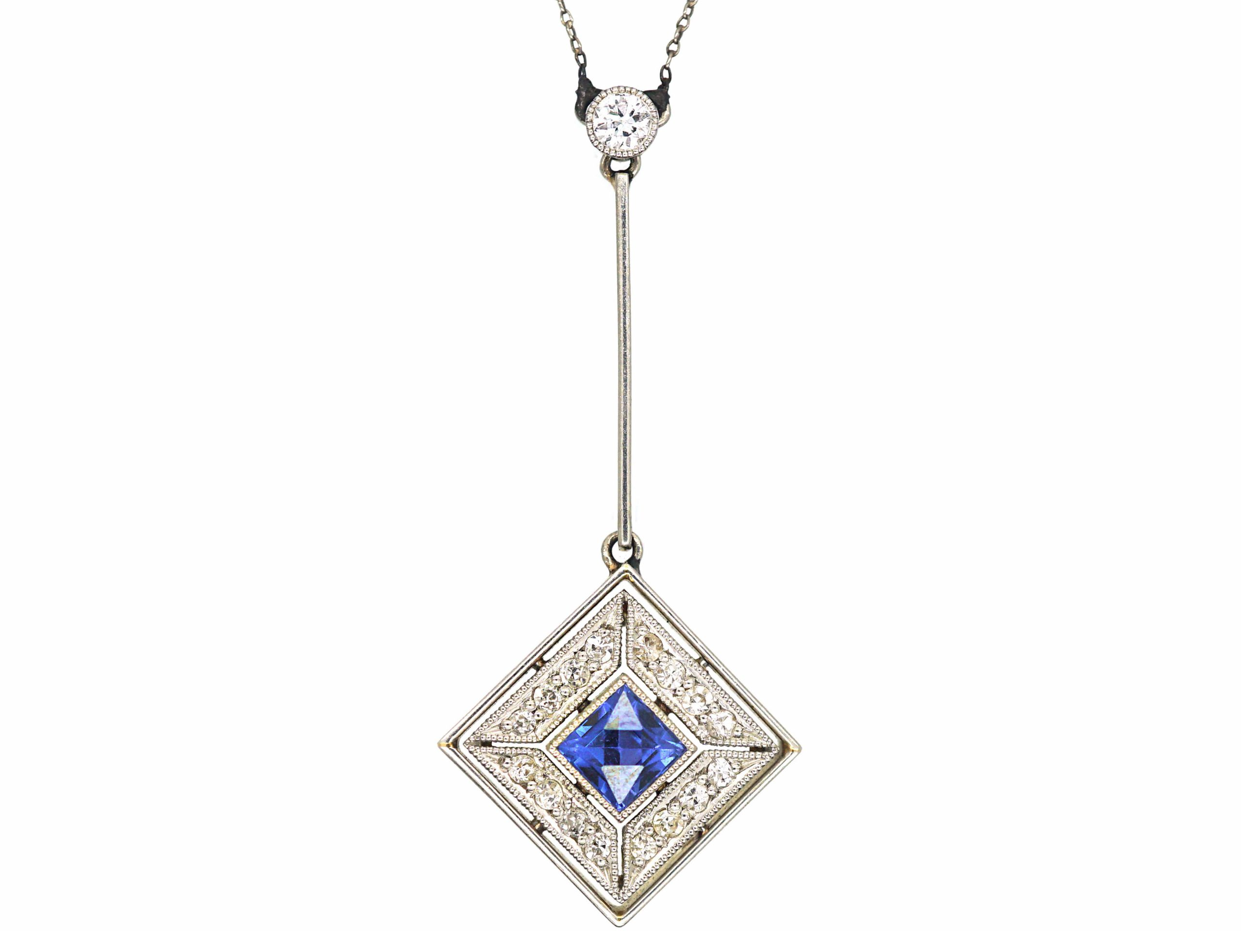 Art Deco 18ct Gold & Platinum, Sapphire & Diamond Pendant on Chain